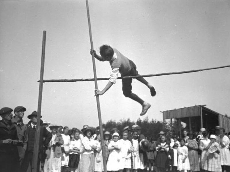 Pole vaulting in Friday Harbor, ca. 1920. Courtesy Washington Rural Heritage