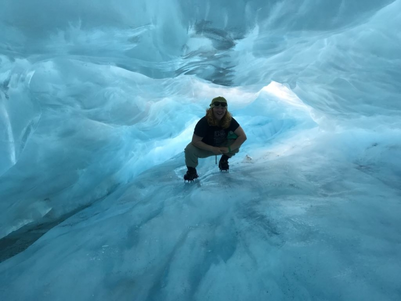 Hannah inside the glacier