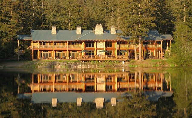 View of the Lakedale lodge on San Juan Island