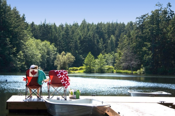 Sit on the dock while camping at the Lakedale Resort
